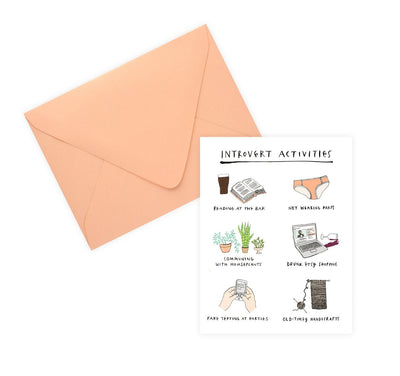 Party Of One Paper Introvert Activities Greeting Card - GREER Chicago Online Stationery Shop