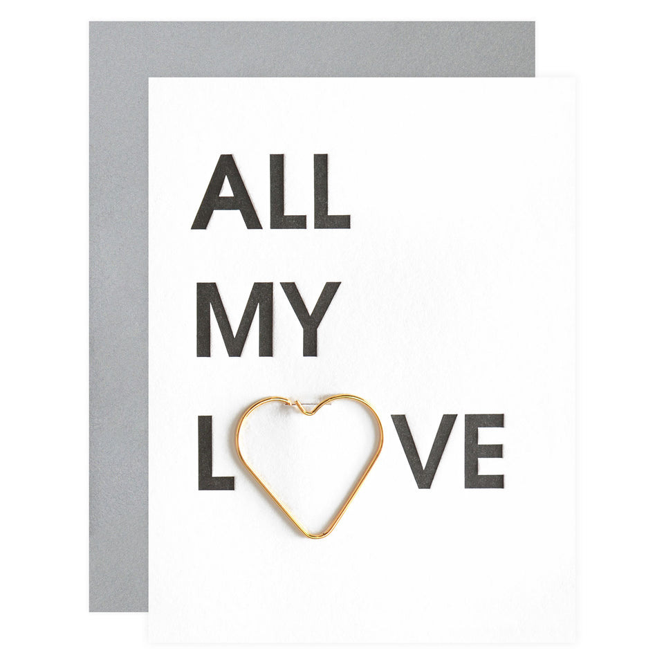 Chez Gagné Letterpress All My Love Paper Clip Greeting Card