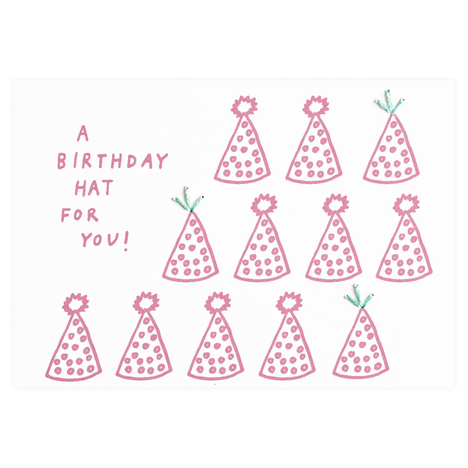 Allie Biddle A Birthday Hat for You Stitched Greeting Card