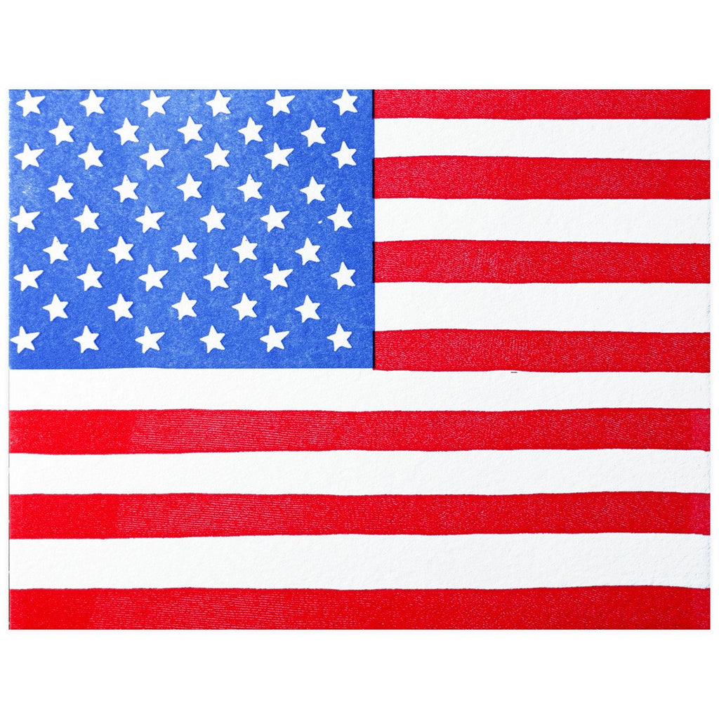 Printerette Press American Flag Greeting Card - GREER Chicago Online Stationery Shop