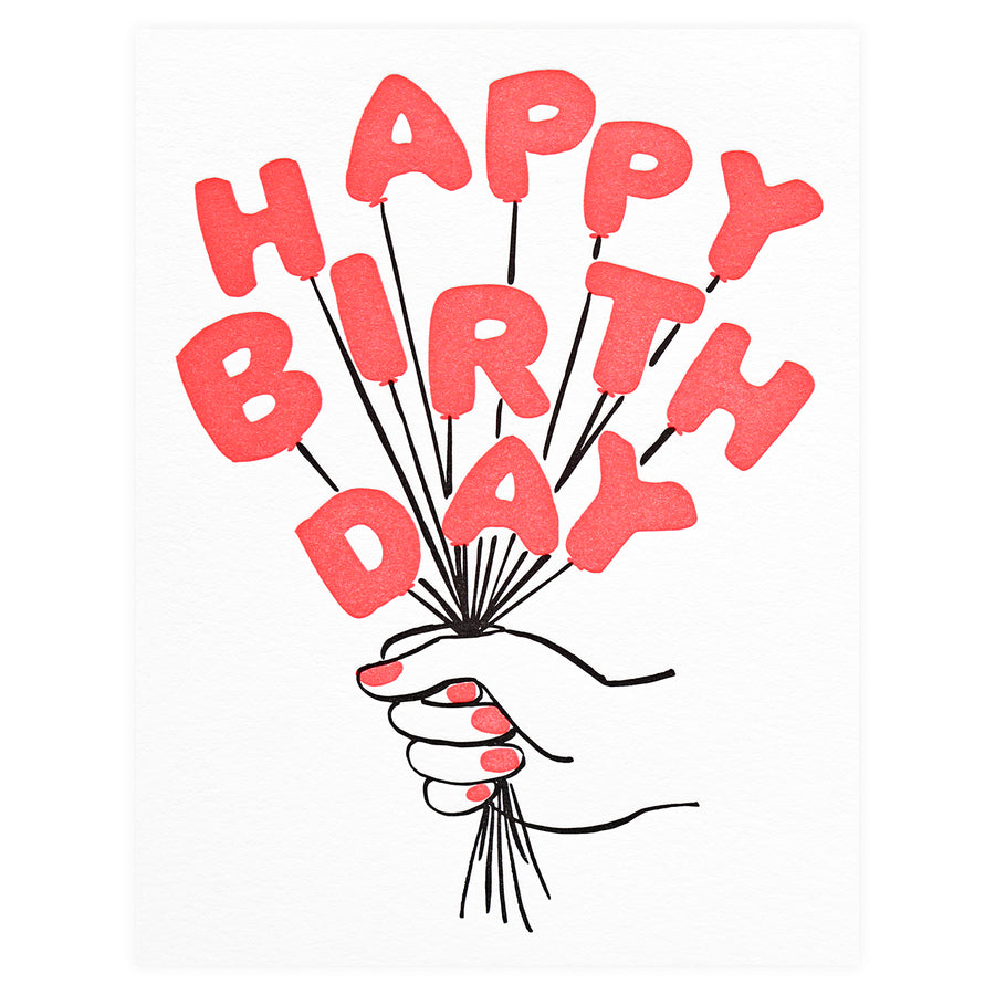 And Here We Are Birthday Balloons Greeting Card