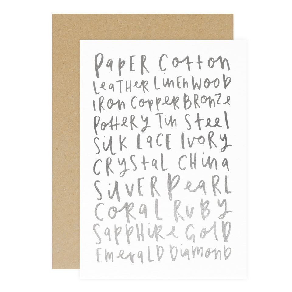 Old English Company Anniversary Words Greeting Card