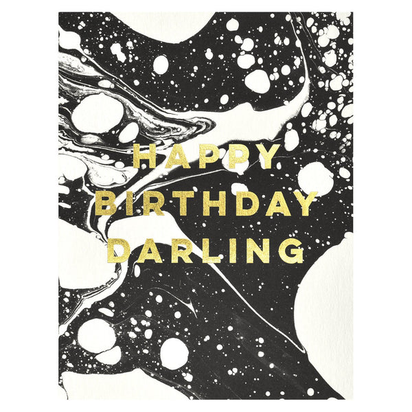 Antiquaria Marble Happy Birthday Darling Card - GREER Chicago Online Stationery Shop