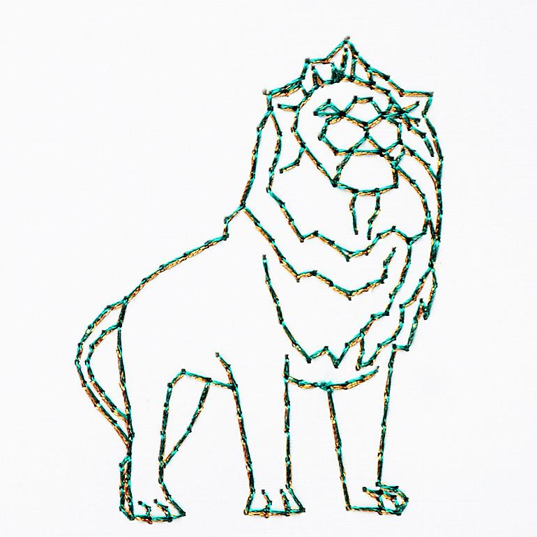 Art Institute of Chicago Lion By Stitched Cards - 2