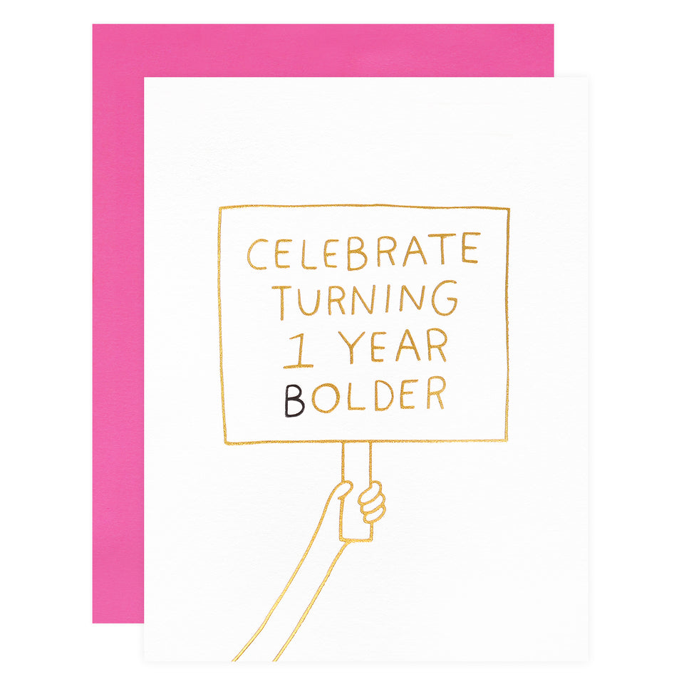 Ashkahn 1 Year Bolder Birthday Card