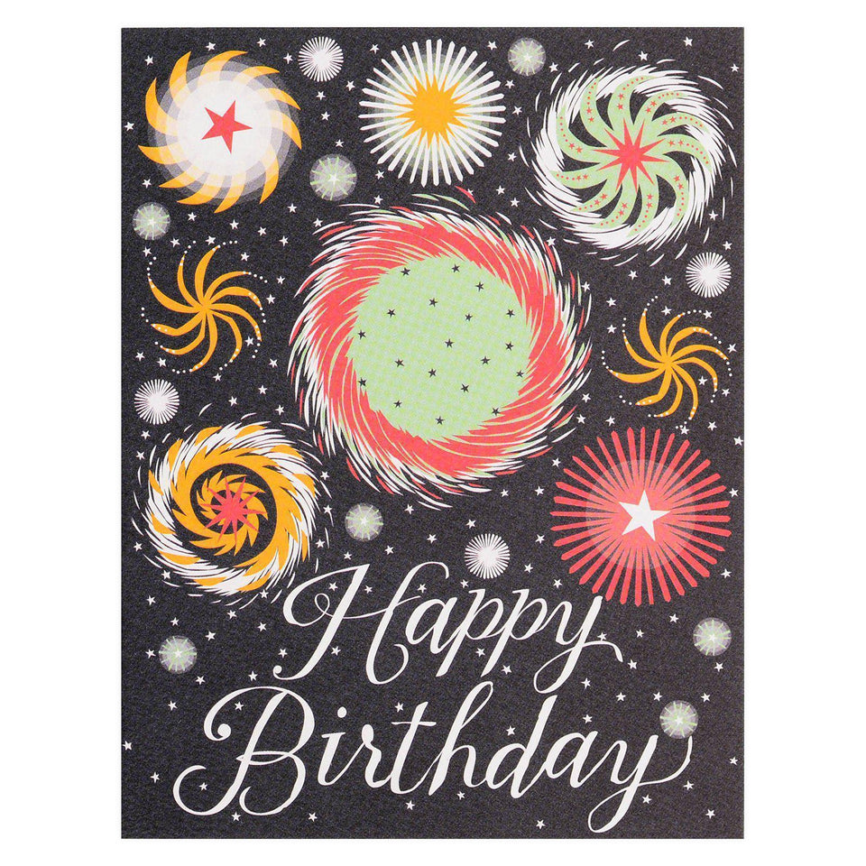 Banquet Workshop Fireworks Happy Birthday Card