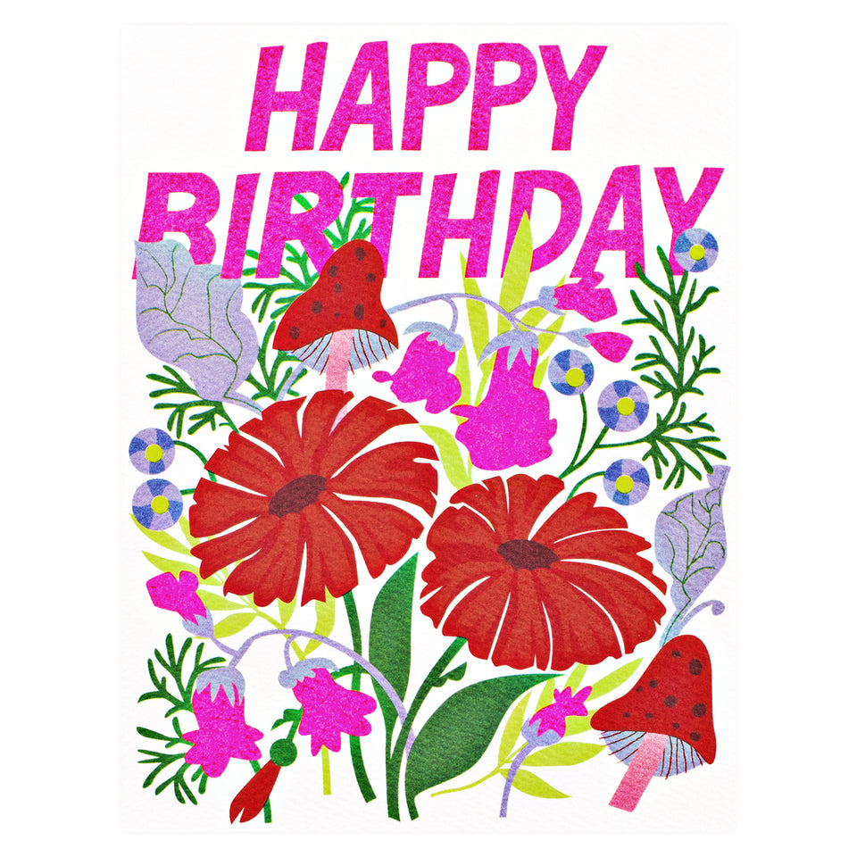 Banquet Workshop Happy Birthday Mushrooms and Florals Greeting Card