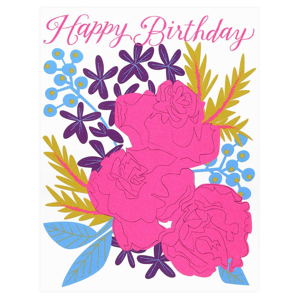 Banquet Workshop Neon Pink Bouquet Roses Birthday Card