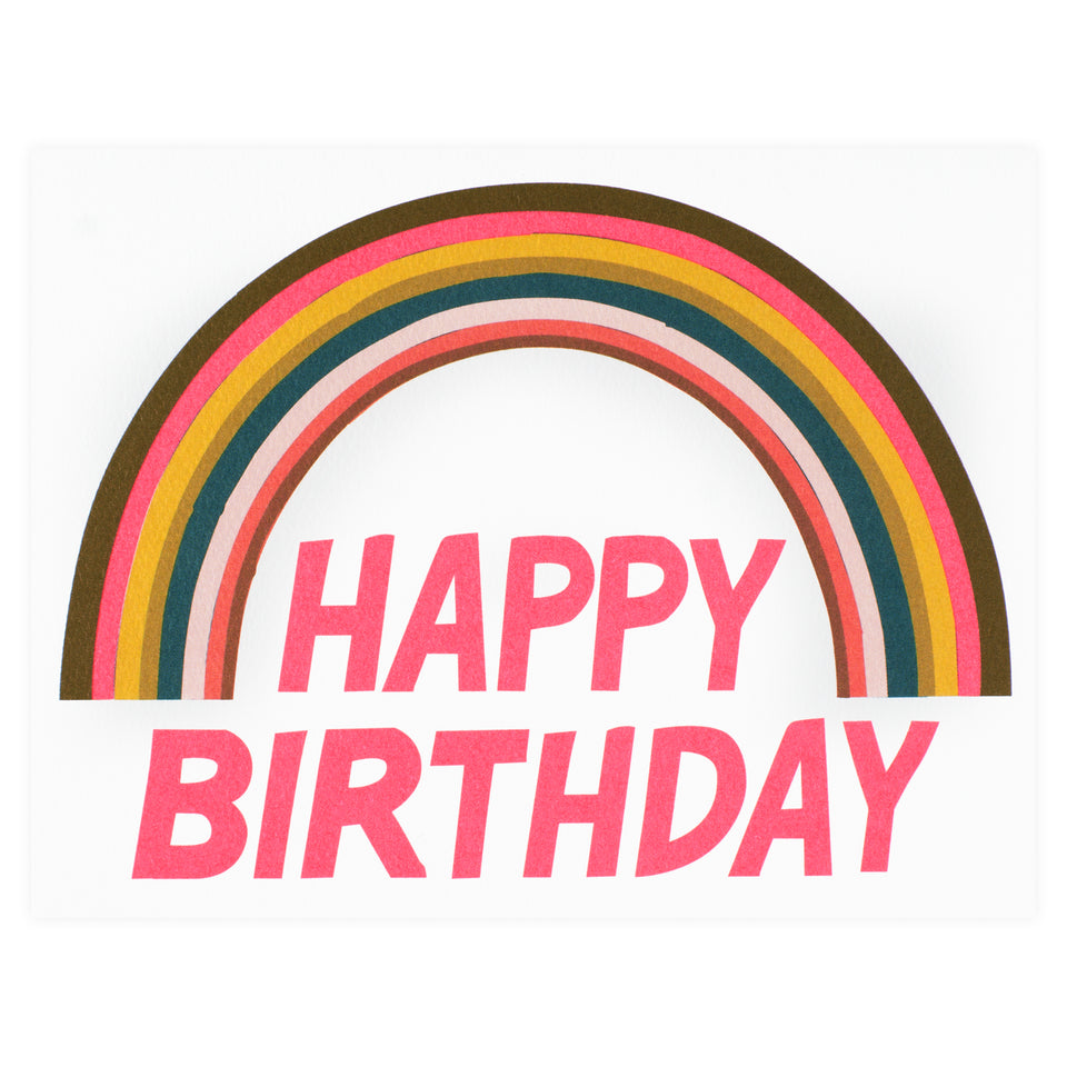 Banquet Workshop Happy Birthday Neon Rainbow Greeting Card