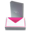 Crown Mill Bi-Color White and Fuchsia Flat Note Cards Boxed