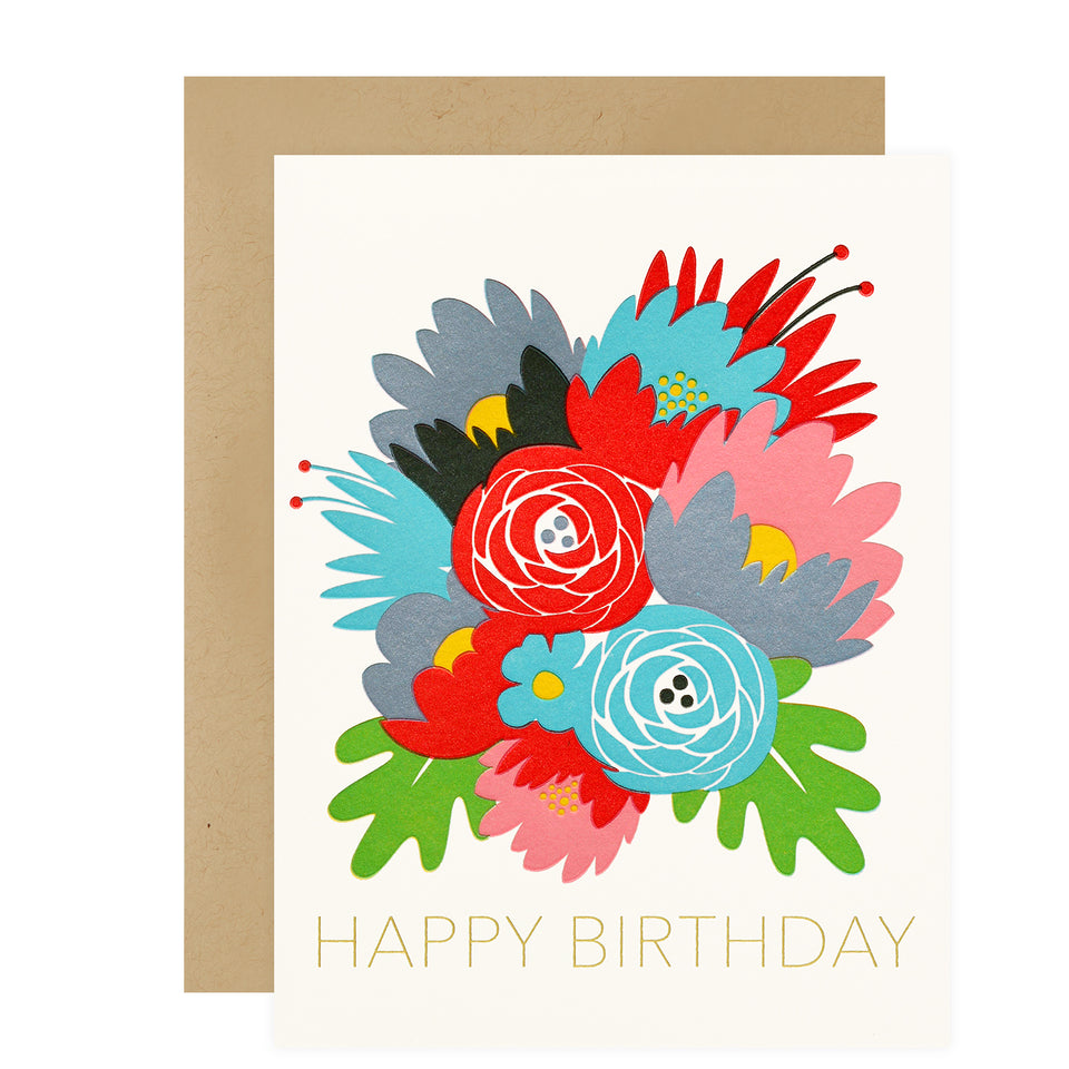 Fugu Fugu Birthday Flowers Greeting Card