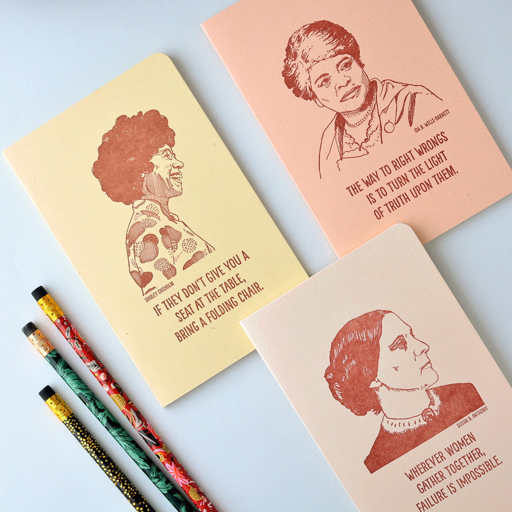 Blackbird Letterpress Ida B. Wells Letterpress Printed Notebook - GREER Chicago Online Stationery Shop