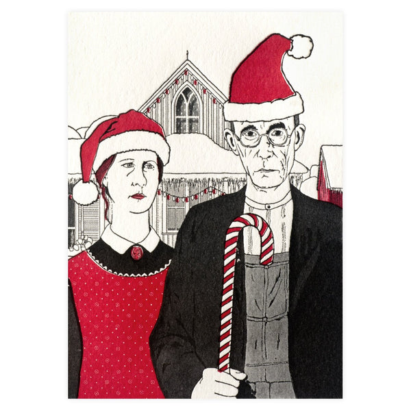 American Gothic Christmas Holiday Card By Blue Barnhouse