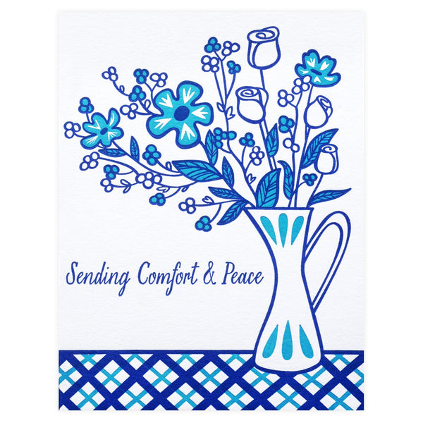 Blue Flowers Sympathy Card - GREER Chicago Online Stationery