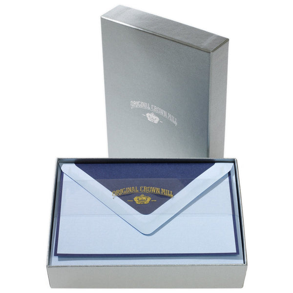 Bi-Color Blue and Navy Note Card Box By Crown Mill