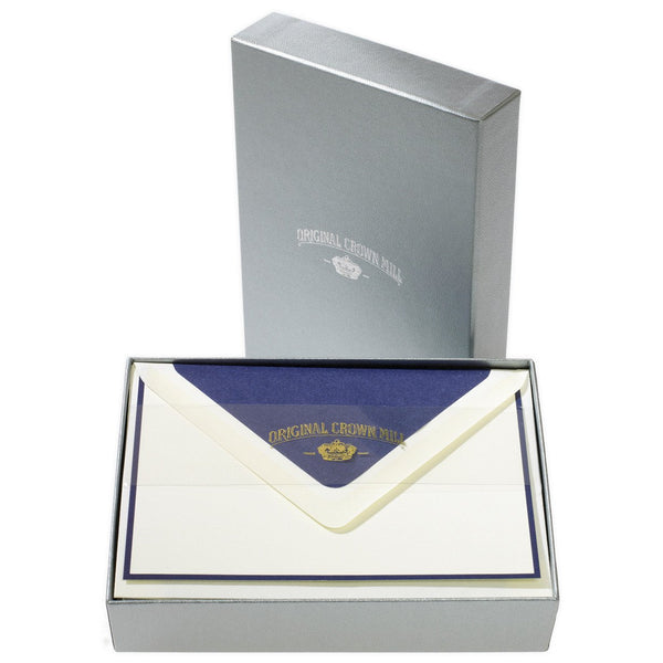 Bi-Color Cream and Navy Note Card Box - GREER Chicago Online Stationery