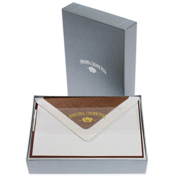 Bi-Color Grey and Chocolate Note Card Box By Crown Mill