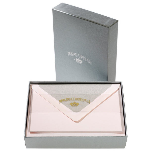 Bi-Color Pink and Grey Note Card Box By Crown Mill