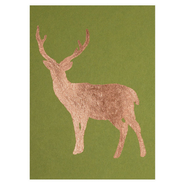 Buck Copper Leaf Holiday Card By Catherine Greenup - 1