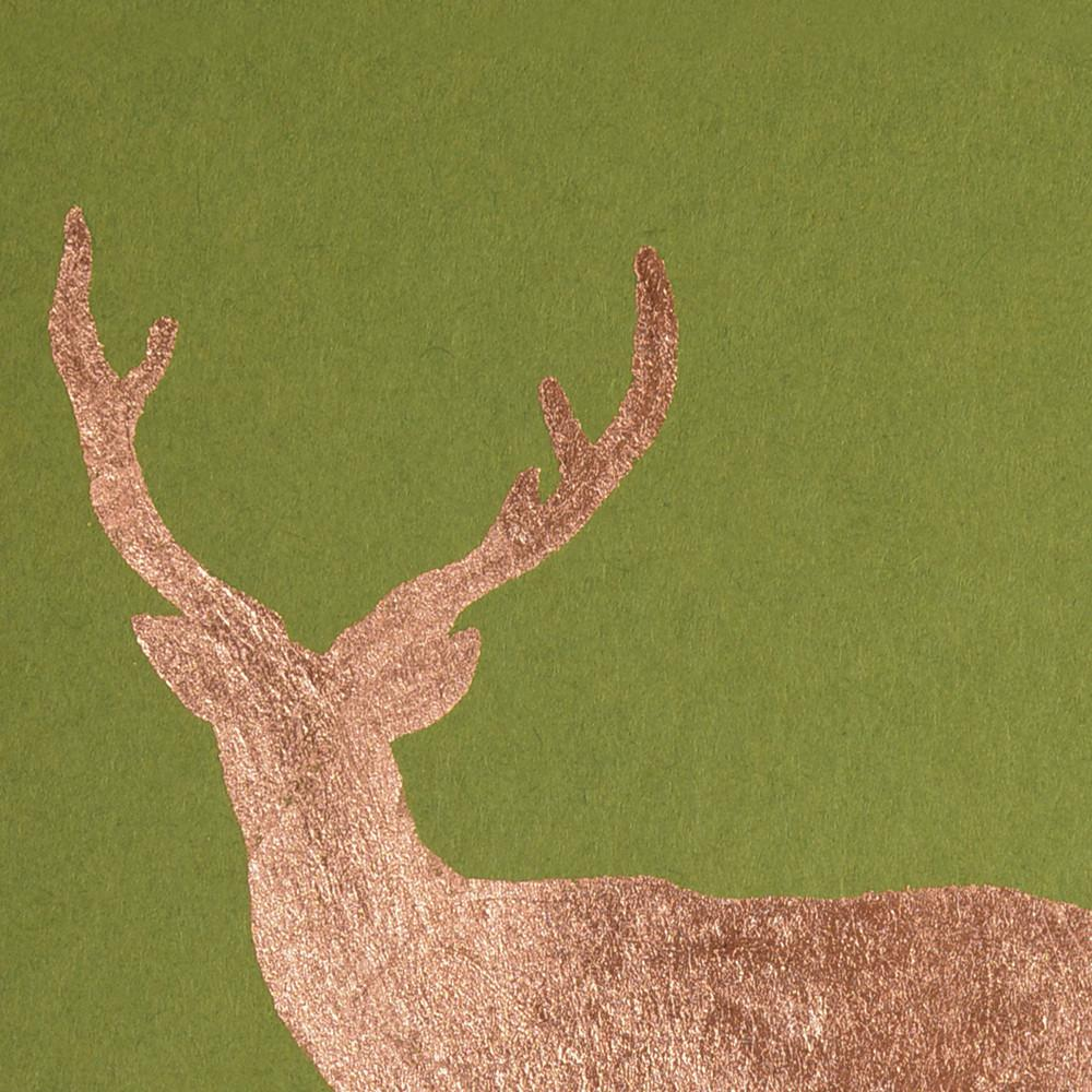 Buck Copper Leaf Holiday Card By Catherine Greenup - 3