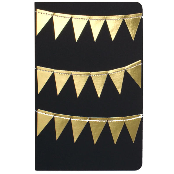 Black with Stitched Gold Bunting Moleskine Lined Journal By Rainy Day Colors