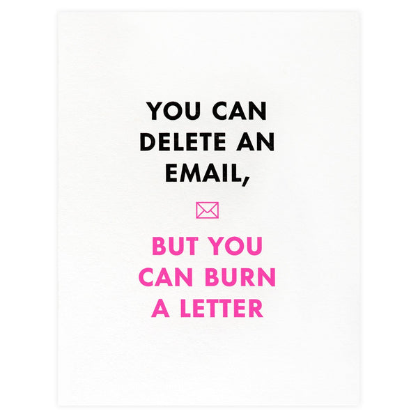 Burn A Letter Card By Greenwich Letterpress