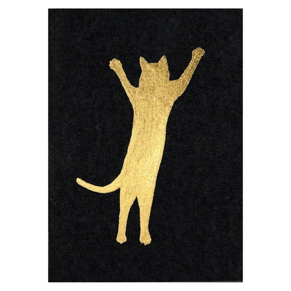 Cat Gold Leaf Greeting Card By Catherine Greenup - 1
