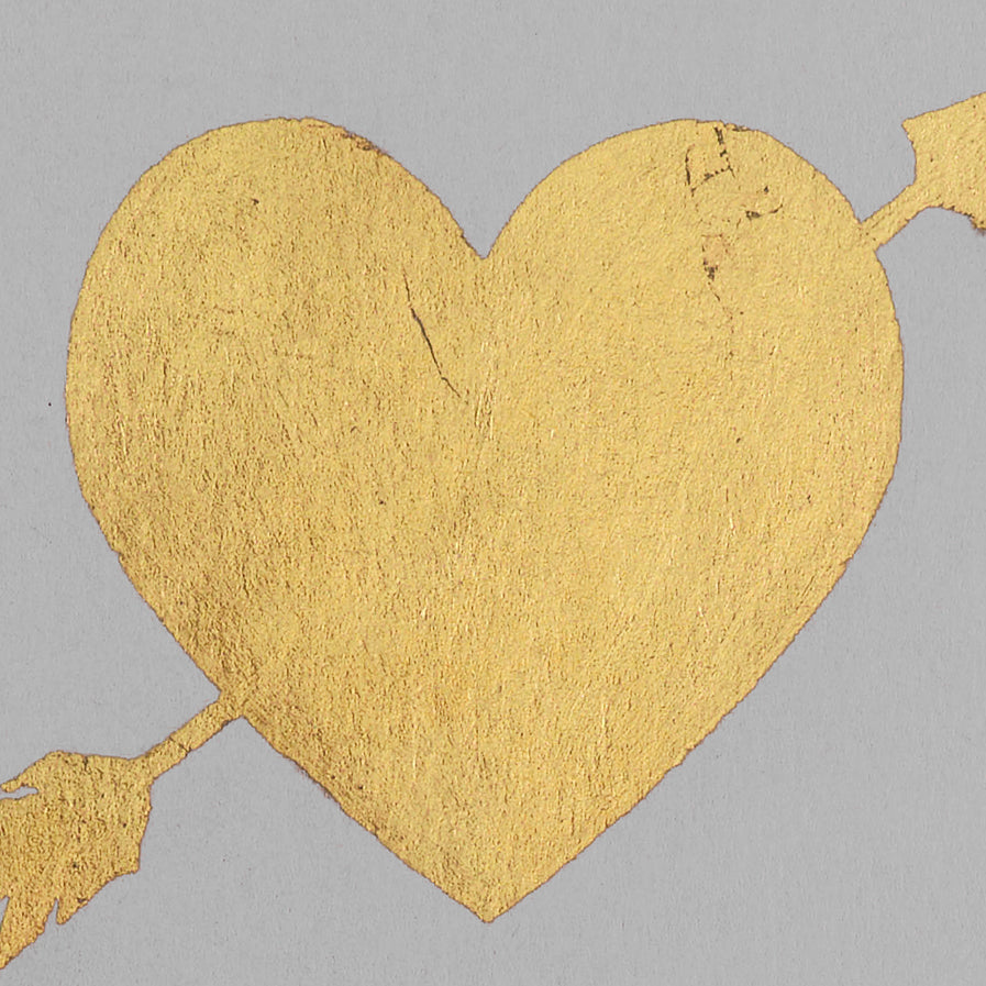 Catherine Greenup Heart and Arrow Gold Leaf Greeting Card Grey
