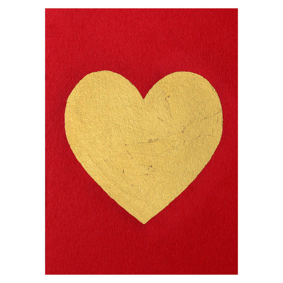 Catherine Greenup Heart Gold Leaf Greeting Card Red