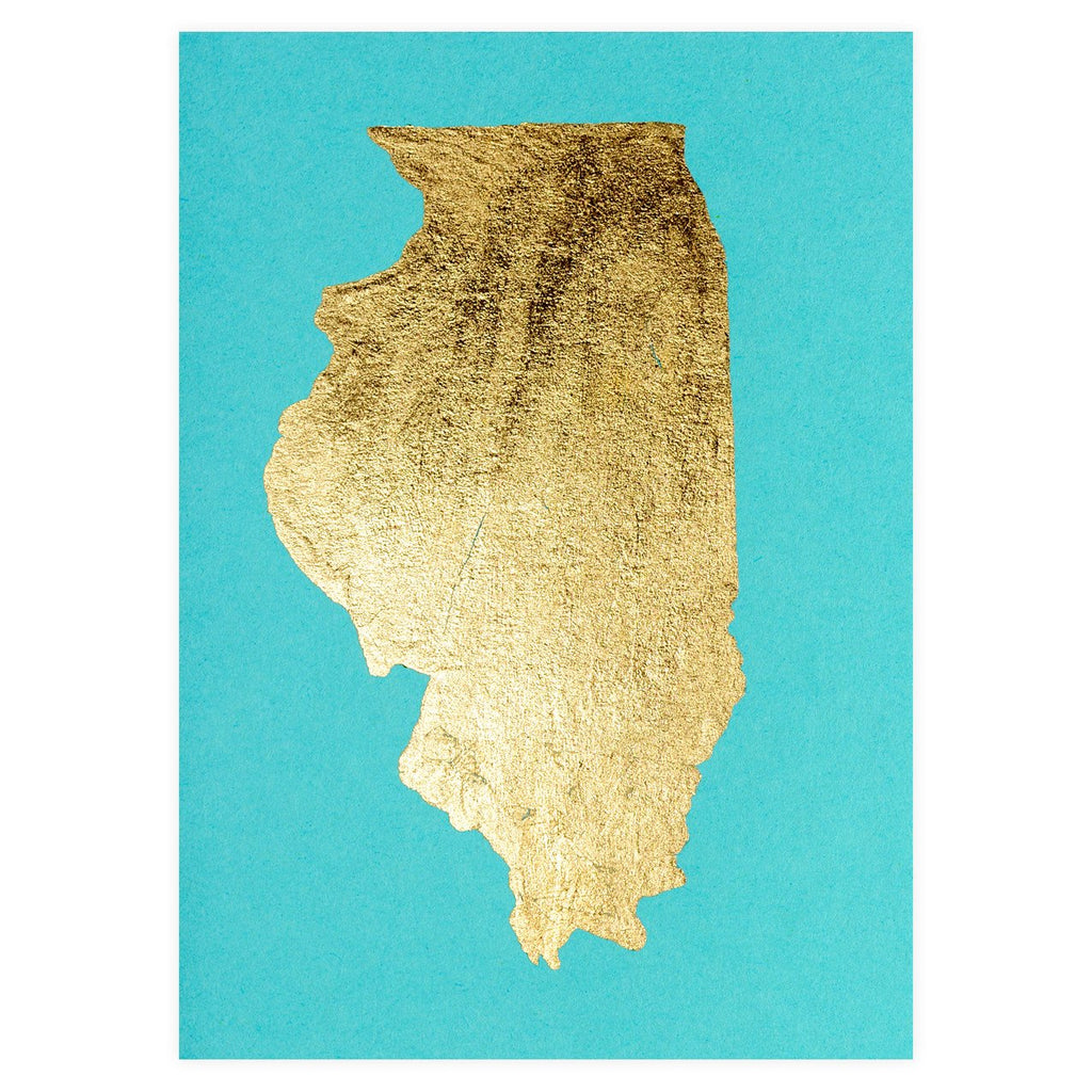 Catherine Greenup Illinois Gold Leaf Greeting Card - GREER Chicago Online Stationery Shop