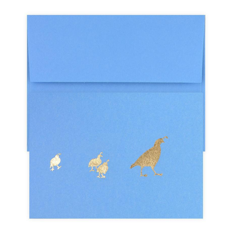 Quail Family Gold Leaf Greeting Card By Catherine Greenup - 2