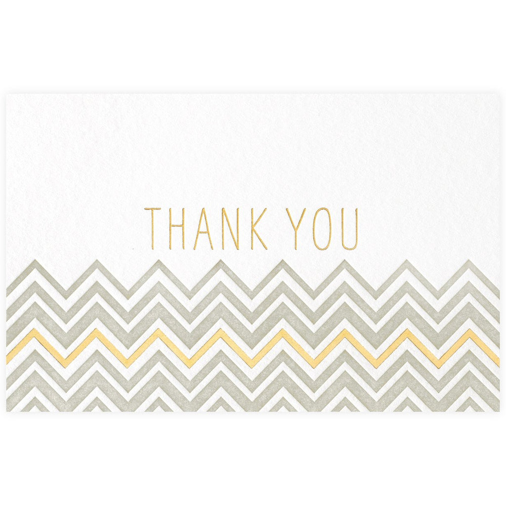 Chevron Thank You Grey + Gold Metallic Card By SMOCK - 1
