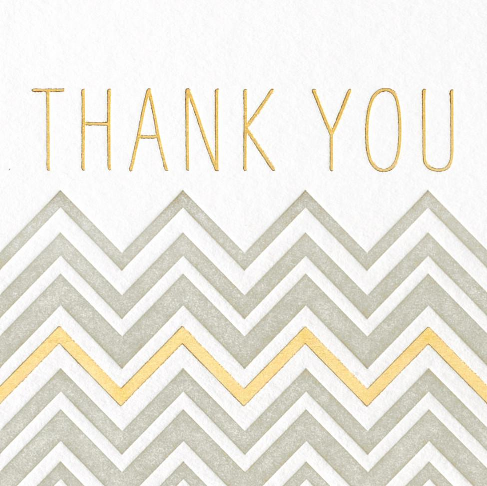 Chevron Thank You Grey + Gold Metallic Card - GREER Chicago Online Stationery