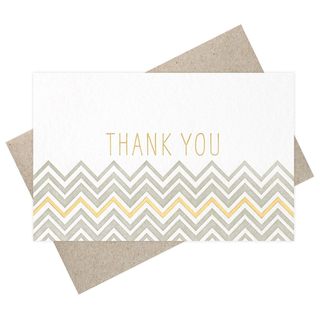Chevron Thank You Grey + Gold Metallic Card By SMOCK - 3