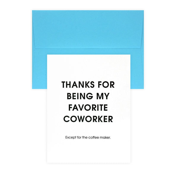 Favorite Coworker Coffee Maker Thank You Card By Chez Gagné Letterpress - 1