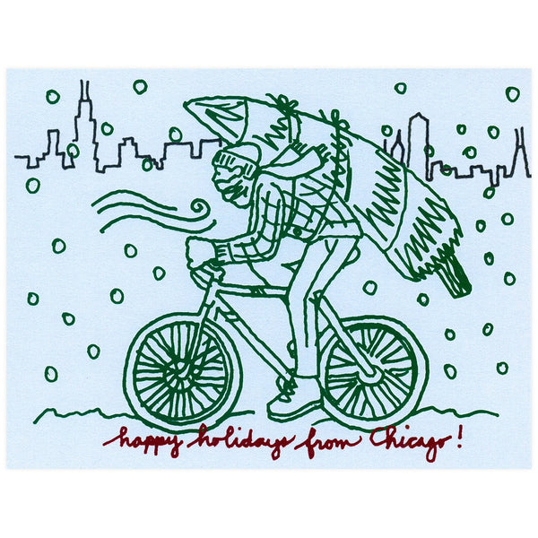 La Familia Green Chicago Winter Bike Holiday Card - GREER Chicago Online Stationery Shop