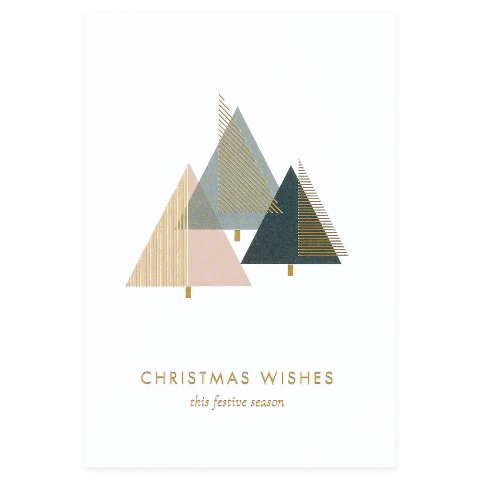 À L'aise Foil Printed Christmas Cards Set or Single Christmas Wishes Tree single