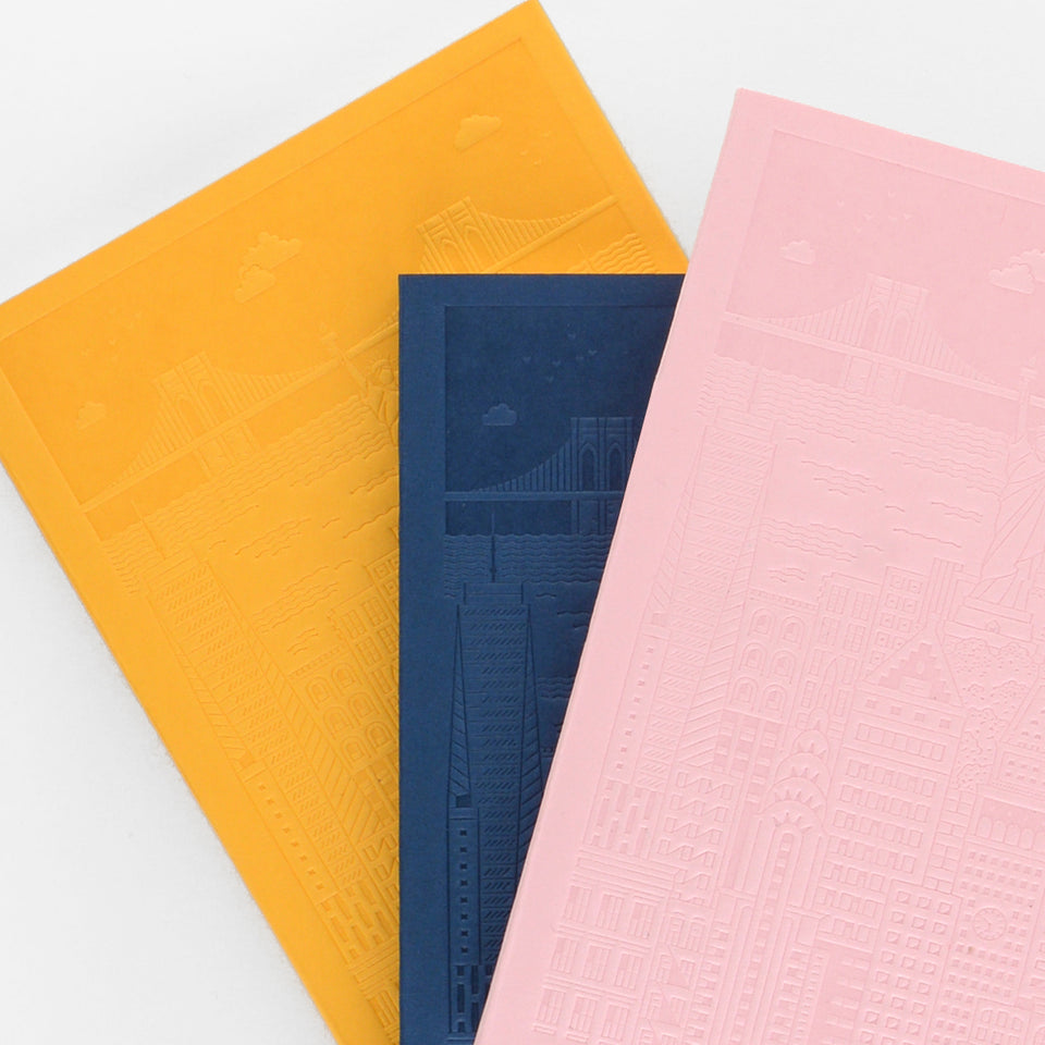 The City Works New York Debossed Blank Notebook | Blue, Pink or Yellow