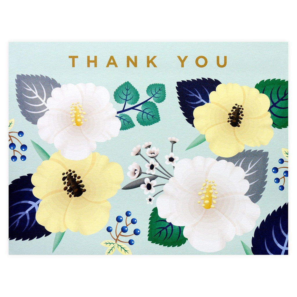 Hibiscus Folded Thank You Card Boxed By Clap Clap