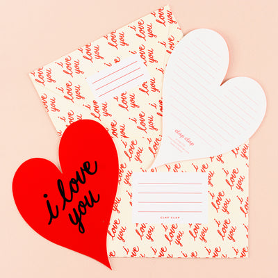 Clap Clap I Love You Heart Card Red