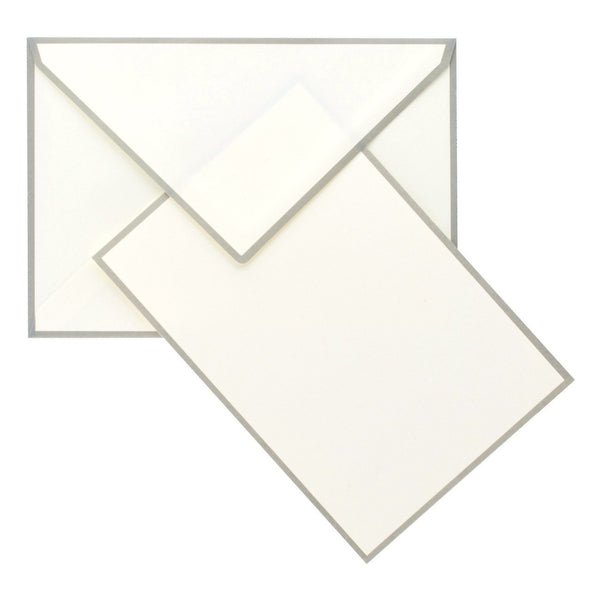 Color Edge Cream and Grey Boxed Flat Note Cards By Crown Mill