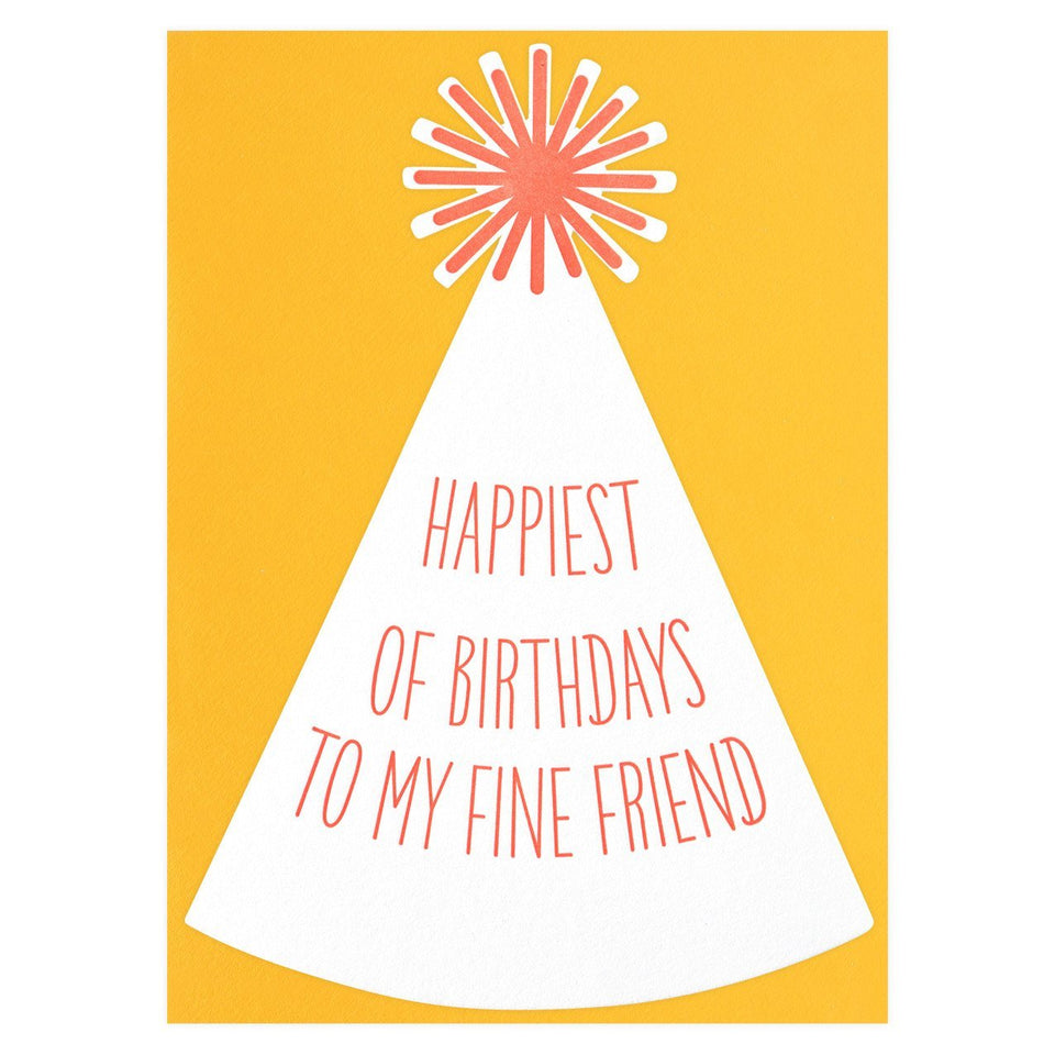 Color Box Letterpress Party Hat Die-Cut Birthday Card