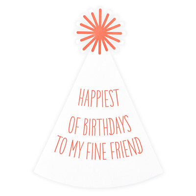Color Box Letterpress Party Hat Die-Cut Birthday Card - GREER Chicago Online Stationery Shop