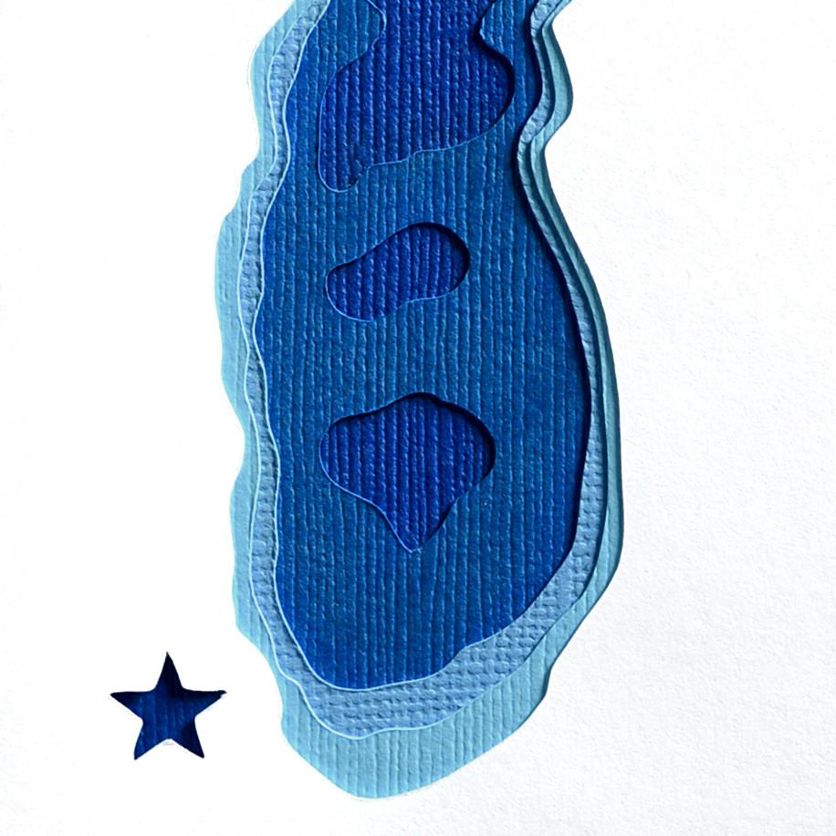Crafterall Chicago on Lake Michigan Handcut Topographical Landscape Card Blue Detail Two