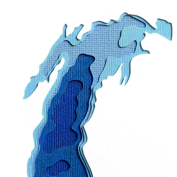 Crafterall Chicago on Lake Michigan Handcut Topographical Landscape Card Blue