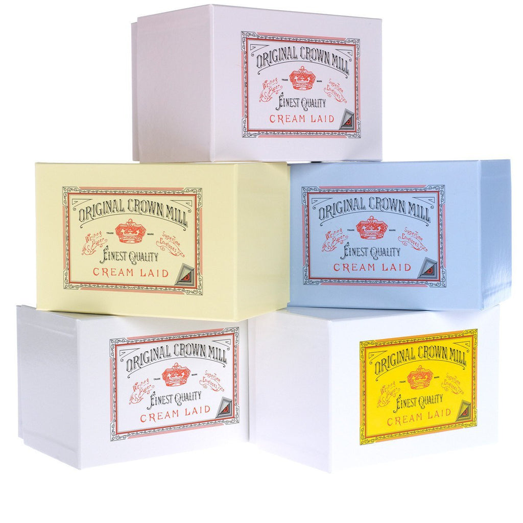 Crown Mill Classic Laid Note Card Presentation Box White