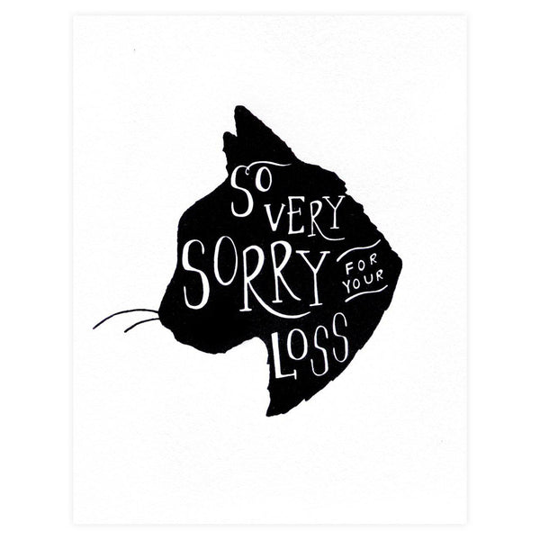 Dahlia Press So Very Sorry Cat Pet Sympathy Card - GREER Chicago Online Stationery Shop