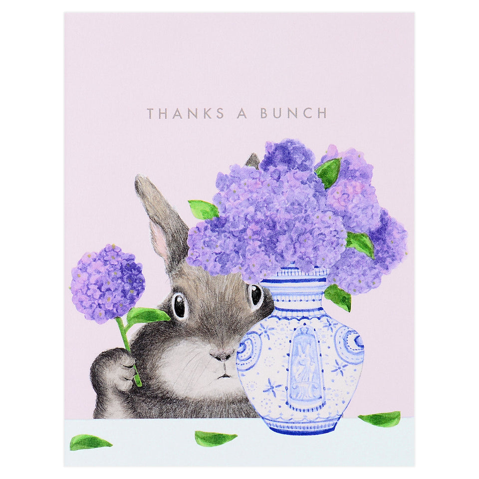 Dear Hancock Bunny Arranging Lilacs Greeting Card