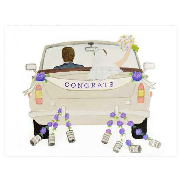 Congrats Wedding Car Greeting Card By Dear Hancock - 1