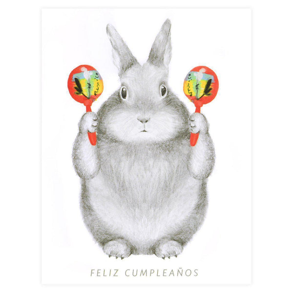 Graphite Bunny With Maracas Birthday Card